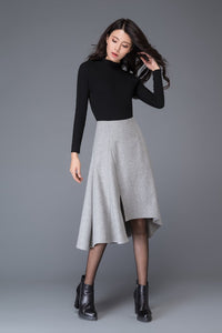 Winter skirt, wool skirt, gray wool skirts, grey skirt, midi skirt, womens skirts, warm winter skirt, asymmetrical skirt C1004
