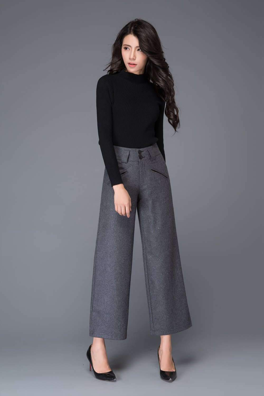Wide leg pants, Wool pants, womens pants, grey pants, dark gray pants, winter pants, loose pants, grey trousers, palazzo pants C1002