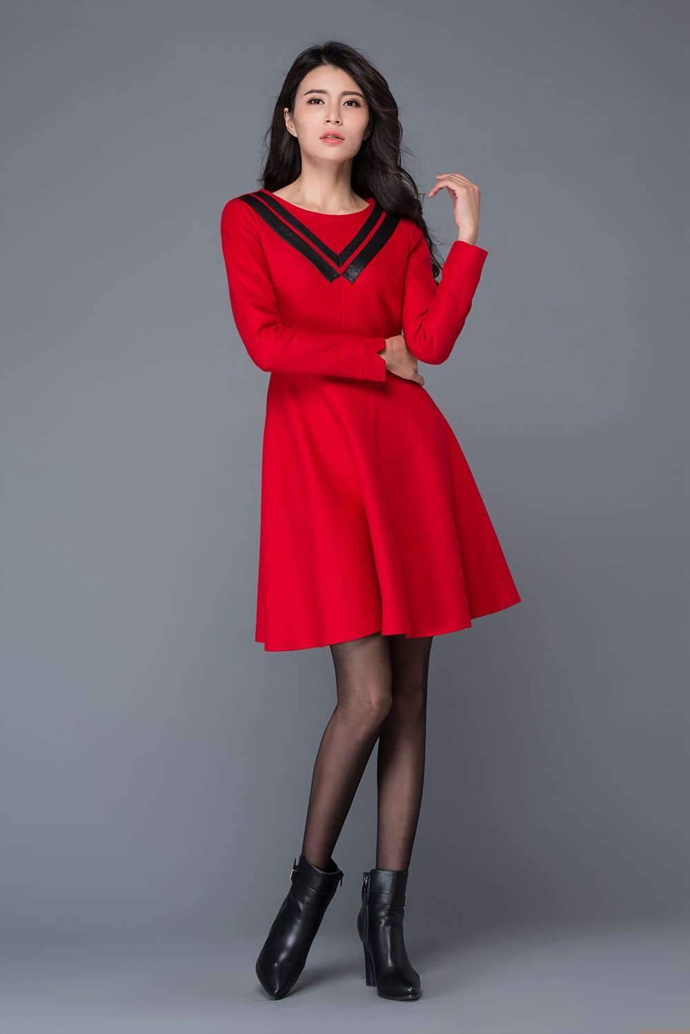 Red wool dress, Womens dresses for winter, girls dresses, winter dress, mini dress, warm winter dress, black PU collar dress C1030