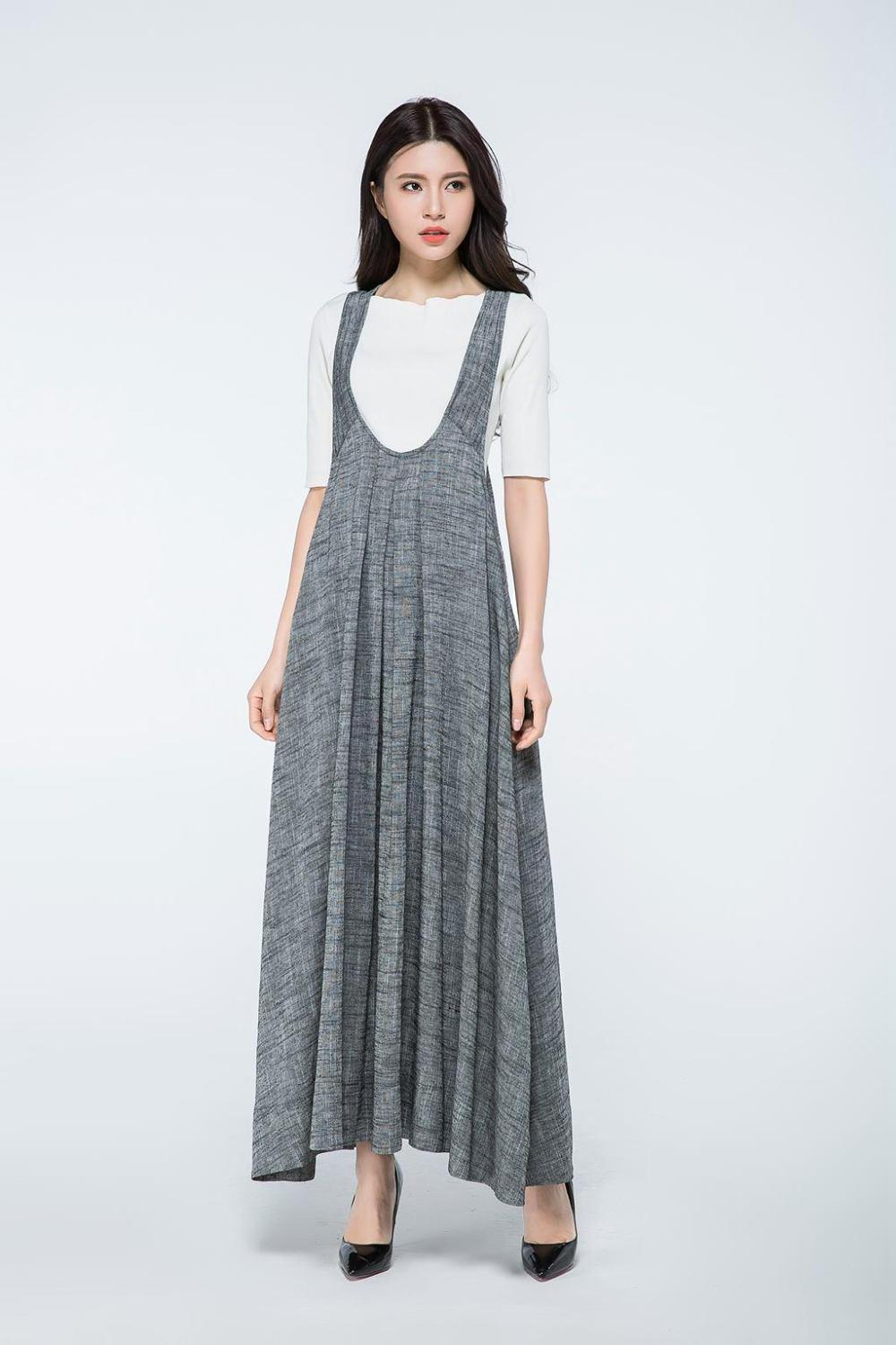 Overall dress, Pinafore dress, linen dress, long dress gray, woman dress linen, plus size dress, summer dress, Pinafore dress woman C1057