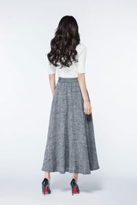 long linen skirt, full length skirt, maxi skirts pockets, maxi skirt, A line skirt, womens long skirts, gray skirt, spring skirt    C1078