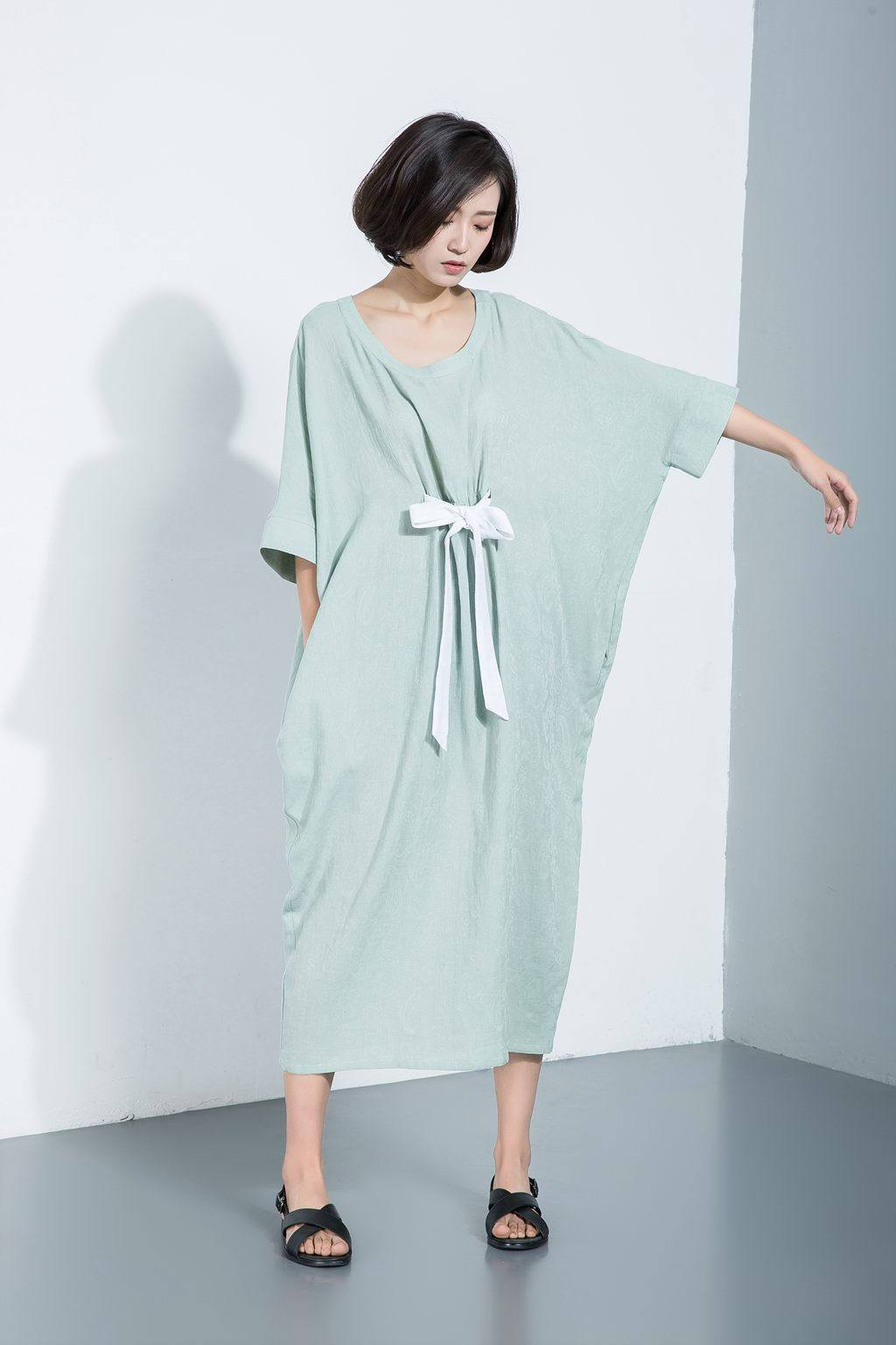 Linen dress, loose dress, casual dress, women's dress, summer dress, green dress, bating Sleeves dress, maxi linen dress C1112