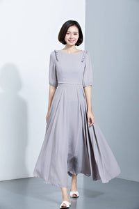 summer chiffon dress with mid sleeves and high waist C1137