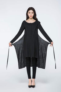 Midi Hooded  Black Linen Long Sleeves Dress C1075