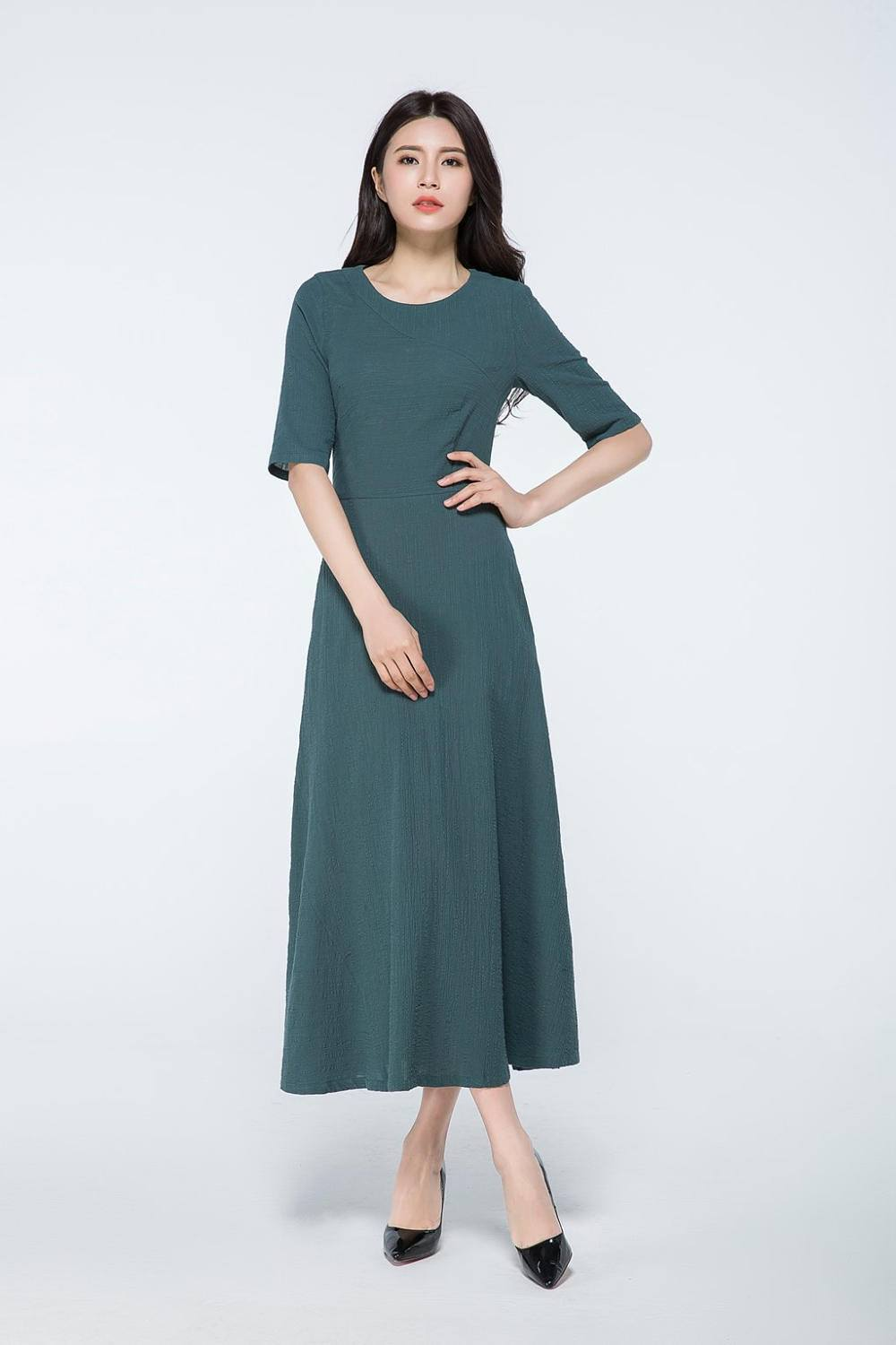 dark green dress, linen maxi dress, maxi dress with sleeves, linen dress, linen dress pattern, womens dresses, made to order dress  C1062