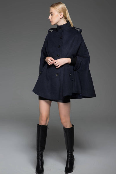 Cape coat, wool cape, womens cape, winter cape, blue cape, womens wool cape, winter warm coat, short coat, handmade cape C754