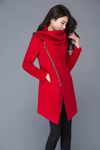 Red Coat, Asymmetrical coat, cowl neck jacket, coats, wool coat, wollmantel, women wool coat, wool jacket asymmetriccal, winter coat C1025