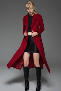 Classic Red Coat - Wool Long Full Length Fitted Slim Tailored Double-Breasted Woman's Coat with Black Buttons & Double Lapels C741