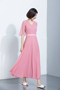 summer chiffon high waist elegant long bridesmaid dress C1143