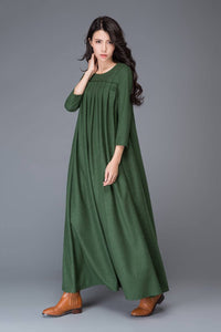 Green dress, Wool dress, winter dress, maxi dress, womens dress, pleated dress, green wool dress, maxi wool dress, womens wool dress C1013