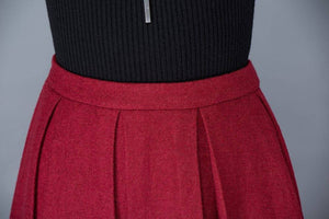 Red wool skirt, midi skirt, wool skirt, women skirts, winter skirt, pleated skirt, long skirt, long wool skirt, red long skirt  C1032