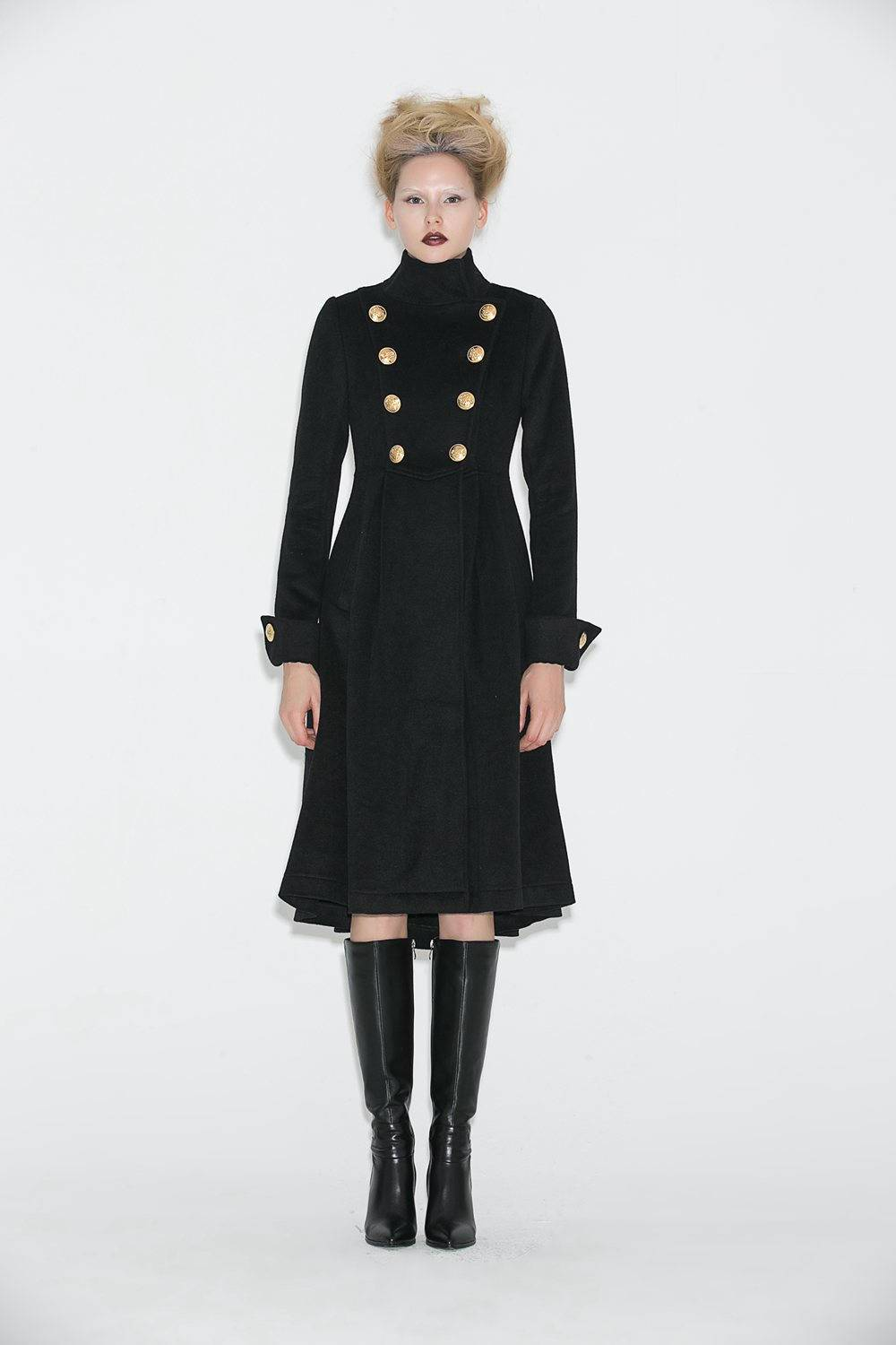 black coat, wool coat, womens coats, winter coat, military Coat, Brass buttons coat, maxi coat, long coat, jacket, Asymmetrical coat C664