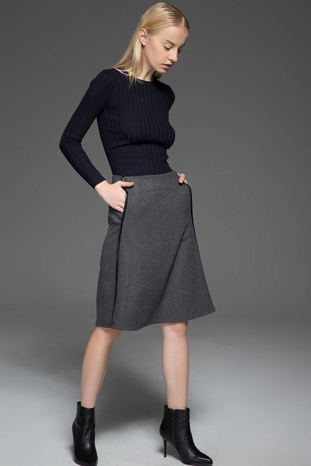 Gray skirt, wool skirt, winter skirt, womens skirts, midi skirt, gray wool skirt, office skirt, wool skirt women, winter wool skirt C774