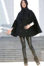 Load image into Gallery viewer, Winter Wool Cape Coat - Black Poncho Style High Collar Short Women Cloak Jacket - C193