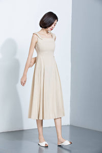 Beige Linen Dress, Suspender Dress, Overall Dress, Long Dress, Summer Dress, Women's Dress, midi dress, sleeveless dress C1140