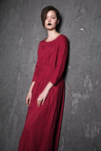 Load image into Gallery viewer, Red Linen Maxi Dress - Raspberry Fit & Flare with Pintuck Pleated Waist Summer Fall Fashion Womens Dress (C500)