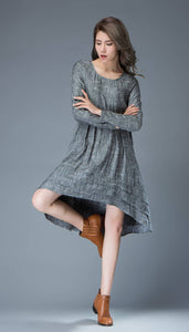 Marl Gray Lagenlook Dress - Linen Loose-Fitting Long-Sleeved Round Neck Asymmetrical Dress with Tiered Pleated Hemline C810