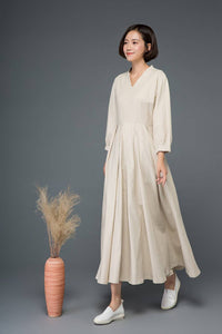 Beige linen dress, linen dress, women dress, Maxi dress, long linen dress, linen causal dress, pleated dress, plus size linen dress C1154