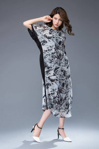 Casual print chiffon maxi dress C942
