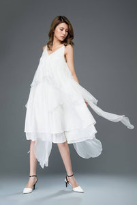 White chiffon dress, prom dress, flare dress, sexy dress, backless dress, wedding dress, asymmetrical dress, strap dress, v neck dress C904