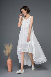 White linen dress, cute dress, summer dress, embroider dress, strap dress, wedding dress, asymmetrical dress, flare dress, loose dress C1162