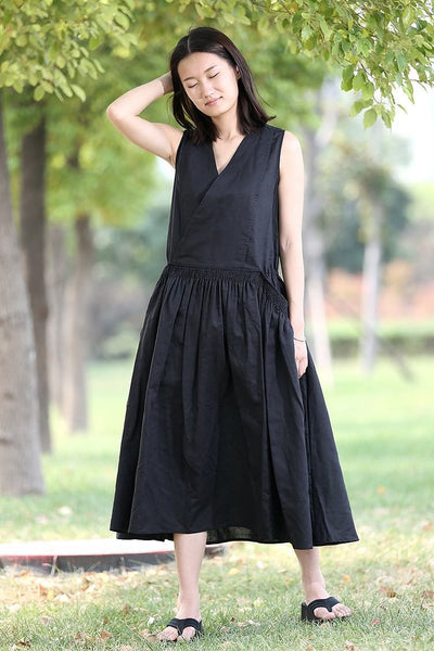 Midi linen dress, black dress, womens dress, woman dress, handmade dress, v neck dress, sleeveless dress, elastic dress, summer dress C277