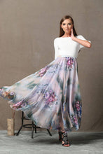 Load image into Gallery viewer, Floral chiffon skirt, Summer Chiffon Skirt, chiffon skirt, floral chiffon skirt maxi, chiffon skirt plus size, chiffon skirt women (C567)