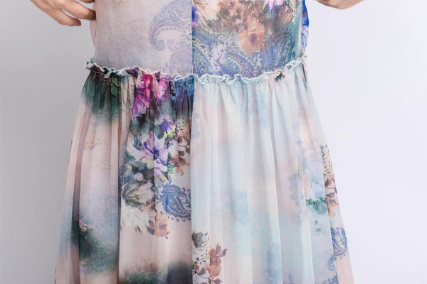 Floral Chiffon Dress - Elegant Summer Party Dress in Watercolor Flowers Print Sleeveless Long Maxi Women's Fashion C470