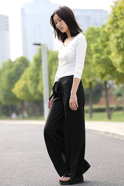 Wide leg pants, black linen pants, long pants, split pants, flared pants, loose pants, maxi trousers, womens pants, casual pants C289