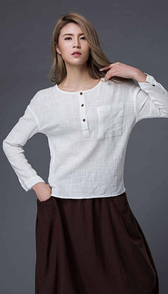 Linen crop top, linen top, white linen top, long sleeve top, white linen blouse, summer top, pocket top with long sleeves, loose top C859