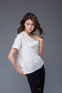 White top, linen top, summer shirt, womens blouse, asymmetrical tops, short shirt, casual top, v neck top, white tee, handmade top C948