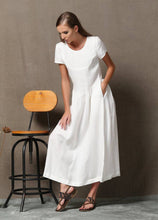 Load image into Gallery viewer, Plus size dress, Linen Dress, maxi linen, white dress woman, woman dress, long dress, plus size clothing, linen dress for women C536