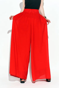 Red pants, chiffon pants, Palazzo pants, womens pants, maxi pants, wide leg pants, red chiffon pants, red Palazzo pants, summer pants C118