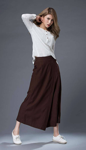 Linen wrap pants, brown wrap pants, linen pants, woman pants, wide leg pants, loose pants, palazzo pants, linen palazzo pants C862