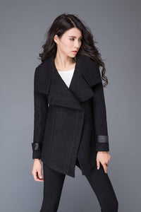 Black wool coat, black winter warm coat, warm short women coat, womens black wool coat, High collar coat, custom coat, womens jackets C987