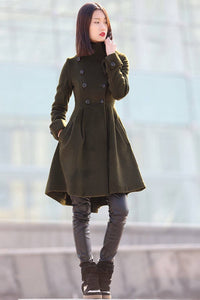 Green coat, winter coats for women, winter coat, coat, jacket, wool coat, Asymmetrical coat, womens coats, army green coat, coats C178