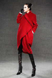Wool Coat, red coat, jacket, winter coat, long coat, Asymmetrical coat, red wool coat, warm coat, womens coat, loose coat  C026