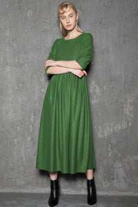 Simple Wool Dress - Emerald Green Elegant Feminine Minimal Contemporary Pleated Long Woman's Dress with Three-Quarter Sleeves C727