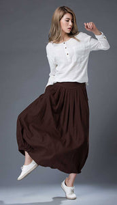 Brown Casual Skirt - Linen Everyday Modern Comfortable Long Maxi Skirt with Two Pockets C865