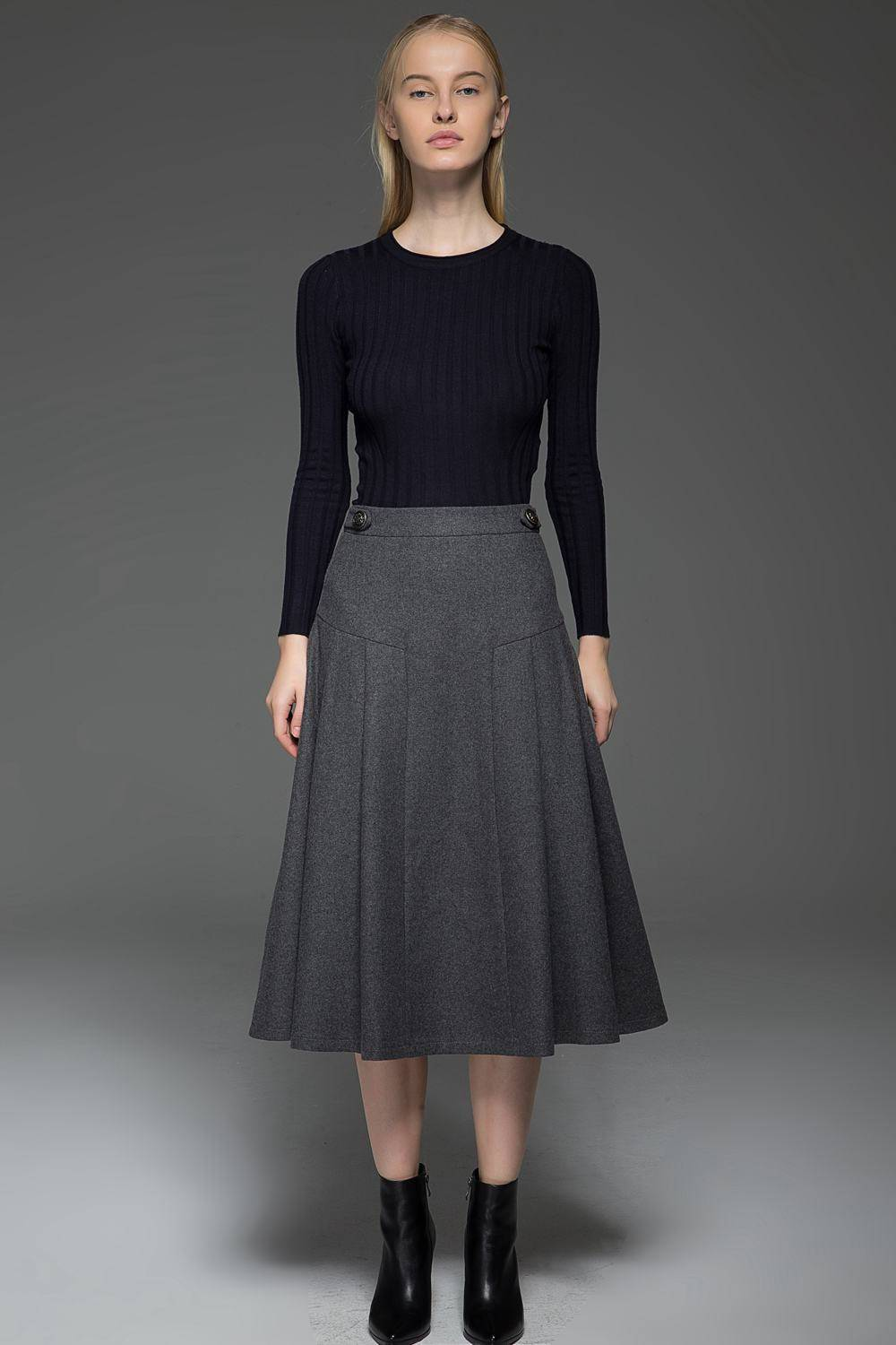 Gray wool skirt, Winter skirt, midi skirt, wool skirt, A Line Skirt, woman skirt, warm skirt, winter wool skirts, midi wool skirt  C772
