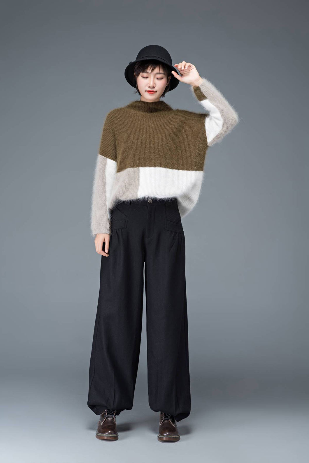 Black pants, womens pants, wool pants, black long pants, wide leg pants, casual pants, winter pants, maxi pants with pockets C1179
