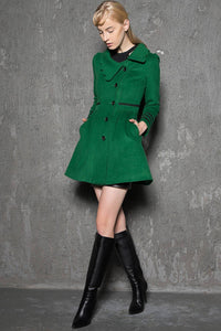 Green coat, warm coat, womens coat, wool coat, short jacket, warm coat, winter jacket, asymmetrical coat, unique jacket, coat C718