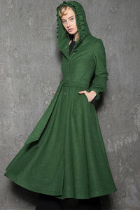 Maxi coat, wool coat, Green wool coat, emerald green coat, fit and flare coat, womens coats, hooded coat, ruffle coat, winter coat C785