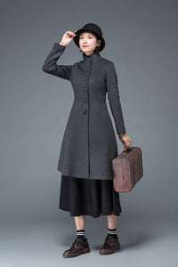 gray coat, wool coat, winter coat, womens jacket, dress coat, grey wool jacket, midi coat, stylish coat, modern coat, ladies coats C1185