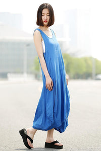 Linen Dress, long vest dress, sleeveless dress, sleeveless linen maxi dress, blue dress, blue linen dress, asymmetrical dress, dress C355