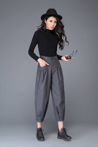 grey pant- wool pant- winter pant- warm pant- loose pant- womens pants- handmade womens pant C999