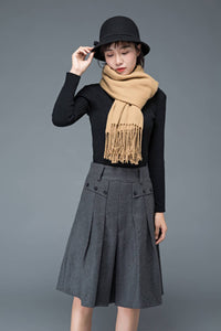 Gray wool skirt, midi skirt, pleated skirt, knee length skirt, uniform style skirt, winter warm skirt, maxi skirt, woman skirt C1195
