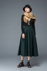 green wool skirt, long wool skirt, winter skirt, womens skirt, wool skirt, pocket skirt, warm skirt, winter warm skirt, green skirt C1197