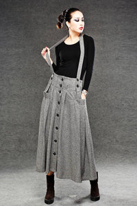 Wool Suspender skirt, pleated skirt, winter skirt, long skirt, womens skirts, maxi skirt, houndstooth skirt, button skirt, pocket skirt C049
