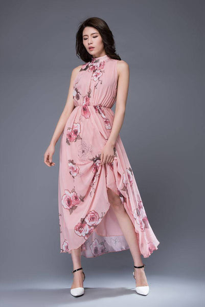 Pink print chiffon dress, bridesmaid chiffon dress, flower chiffon dress, romantic dress, womens dress, wedding dress, sleeveless dress C875
